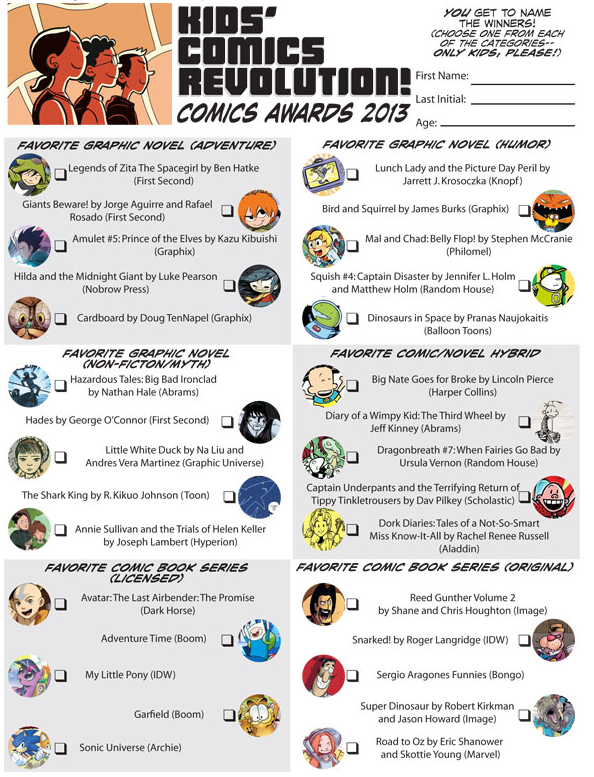 Kids Comics Awards ballot
