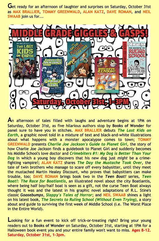 Books of Wonder Middle Grade books