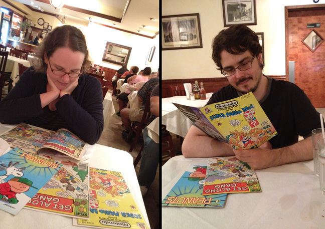 reading comics in public