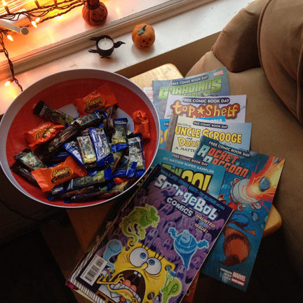 Halloween comics and candy